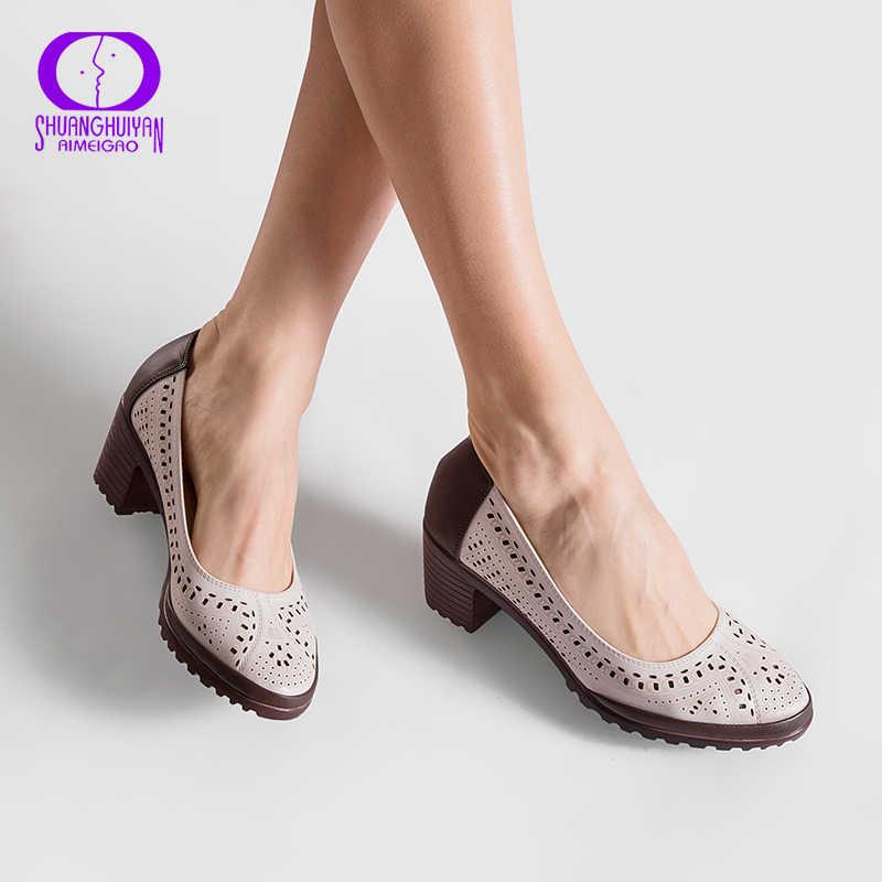 2019 Stile di Estate Scava Fuori I Sandali In Pelle Morbida Scarpe Donna Scarpe A Punta Tacco Alto Donna Dolce Pompe Più Il Formato Retro scarpe