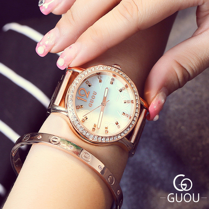 GUOU Top Brand Luxury Women's Watches Rose Gold Diamond Ladies Wrist Watch Fashion Women Watches Clock saat relogio feminino top brand contena watch women watches rose gold bracelet watch luxury rhinestone ladies watch saat montre femme relogio feminino