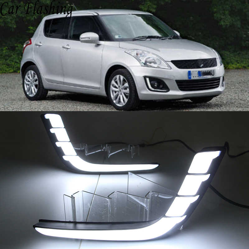 Car Flashing 1 Pair Car DRL For Suzuki Swift 2014 2015 2016 Daytime running lights Fog lamp cover with yellow turn signal
