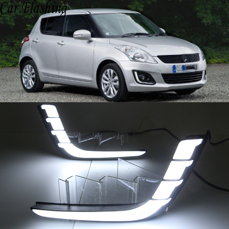 Car Flashing 1 Pair Car DRL For Suzuki Swift 2014 2015 2016 Daytime running lights Fog lamp cover with yellow turn signal-in Car Light Assembly from Automobiles & Motorcycles    1