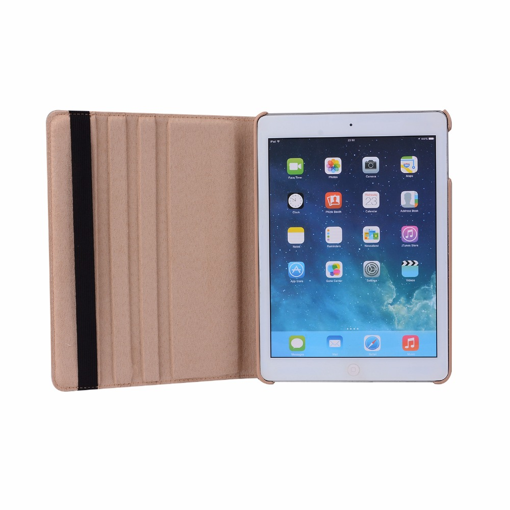 360 Degree Rotating Litchi Pattern PU Leather Cover Case For Apple Ipad Air 2 Ipad 6 9.7 Inch Coque Funda With Stand Holder