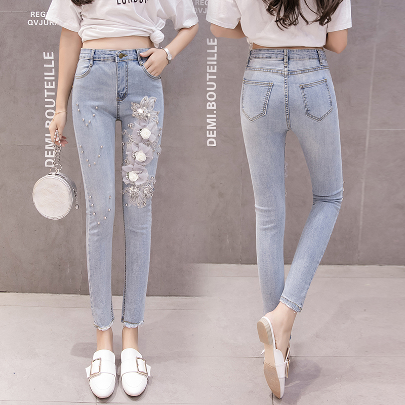 2019 Solid Wash Skinny Jeans Woman High Waisted Vintage Beading 3d Embroidery Slim Stretch Pencil Denim Pants Ladies Trousers