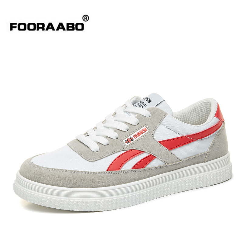Fooraabo Brand 2018 Spring Summer Canvas Shoes Men Sneakers Low Top Men's Casual Shoes Comfortable Round Toe Lace-up Flat Shoe e lov women casual walking shoes graffiti aries horoscope canvas shoe low top flat oxford shoes for couples lovers