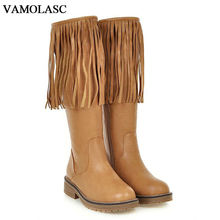 VAMOLASC New Women Autumn Winter Leather Mid Calf Boots Zipper Tassel Square Low Heel Boots Platform Women Shoes Plus Size 34-43
