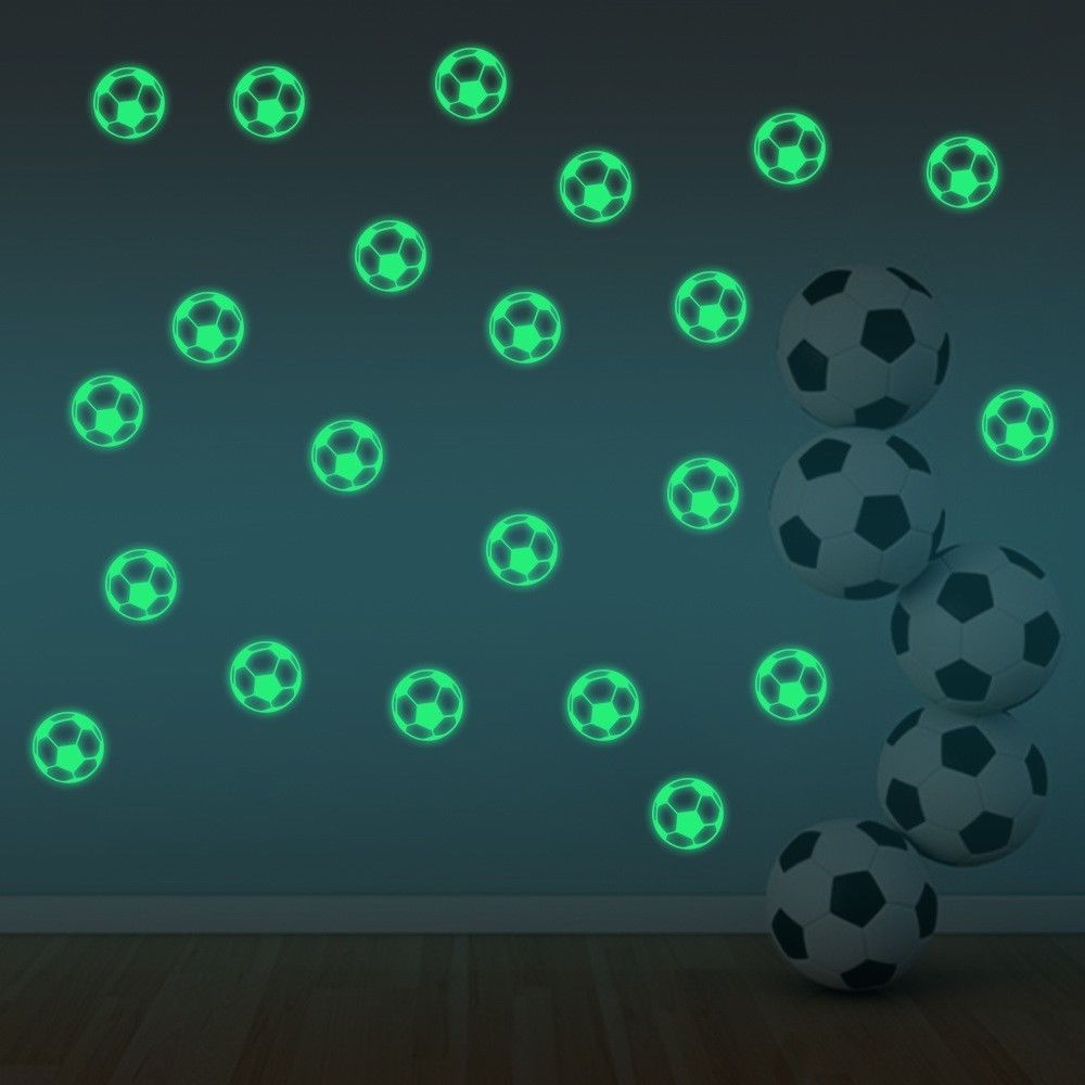 Newest 12pcs 3D Football Glow In The Dark Luminous Fluorescent Vinyl Wall Stickers Home Decor Decals On Stock