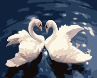 DIY Oil Painting Swan Lovers Living Room Decorative Wall Art Animal Home Decoration Gift