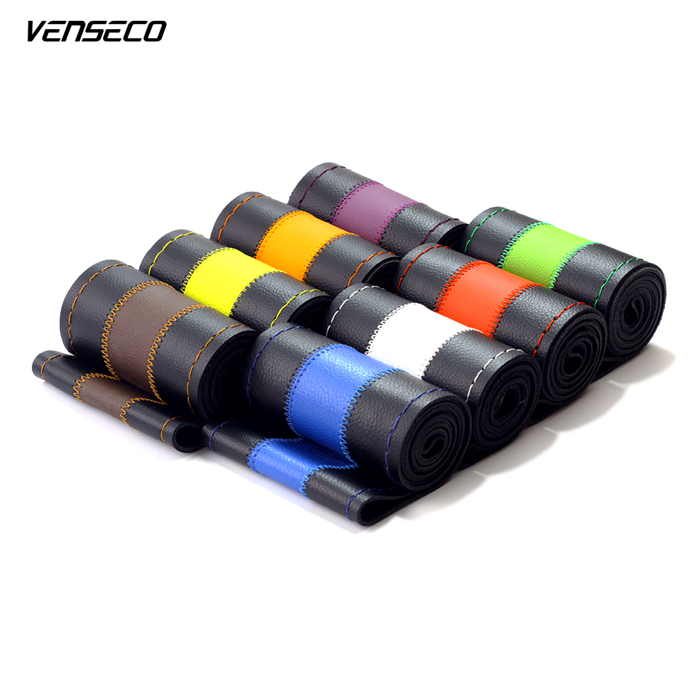 VENSECO universal steering wheel cover soft sewing steering cover multiple colors car steering wheel cover for volkswagen golf