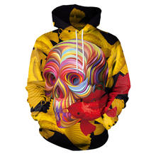 New Autumn Winter Christmas Hoodies Couple Funny 3D Painted Colorful Skull Hoodies Sweatshirt Unisex Casual Xmas Hoody Pullover(China)