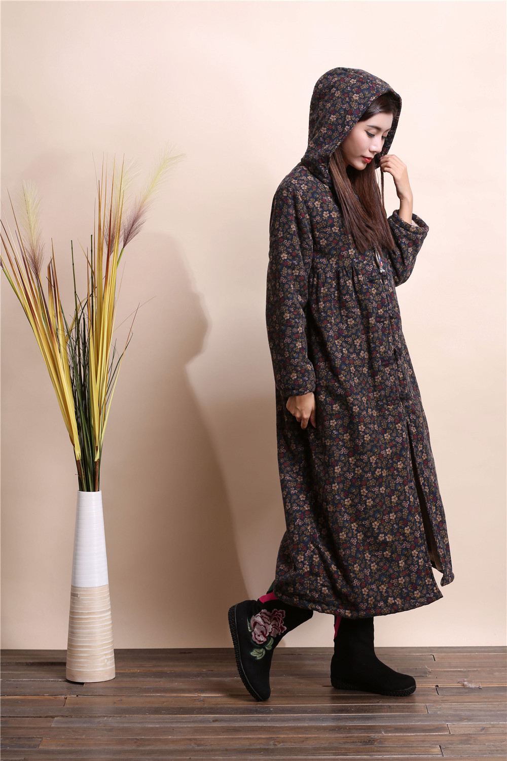 2019 Chinese style wind coat hooded Windbreaker cloaks fashion dust   trench   coat casual Outwear robe gown galabia abaya