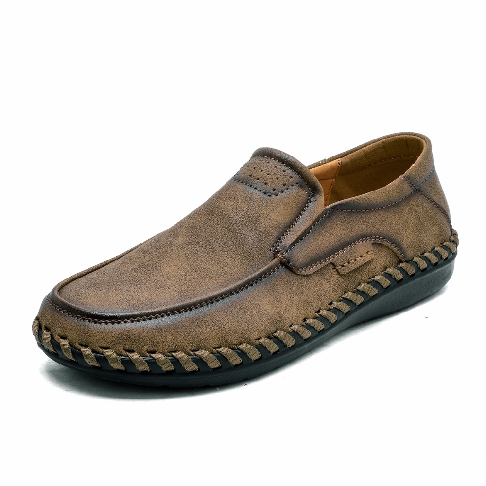 Купить с кэшбэком Large Size 46 Comfortable Men Loafers Quality Split Leather Casual Shoes Autumn Leather Shoes Men Flats Moccasins Shoes