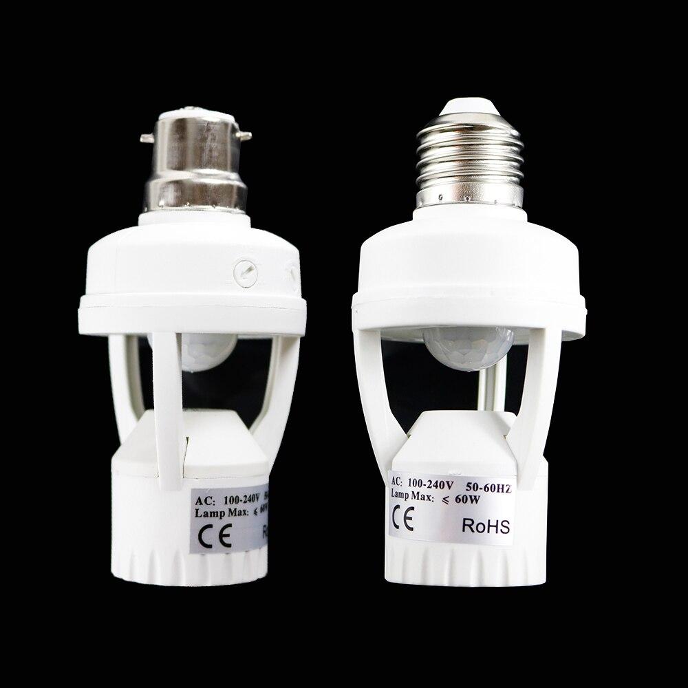 B22 E27 110V 240V PIR Induction Infrared Motion Sensor LED lamp Base Holder + light Control Switch Socket Adapter For led Bulb