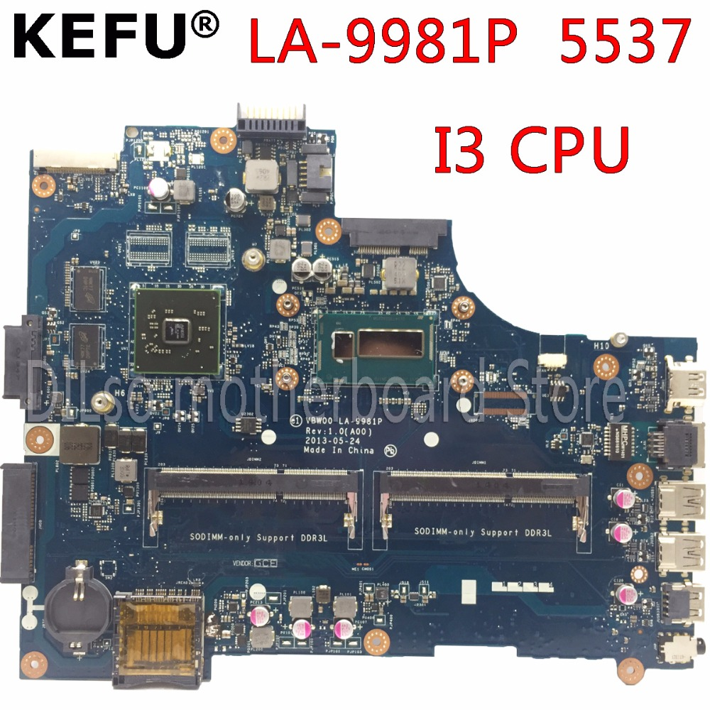 KEFU LA-9981P материнская плата для Dell 15R 3537 5537 материнская плата для ноутбука I3 CPU PM оригинальная тестовая материнская плата