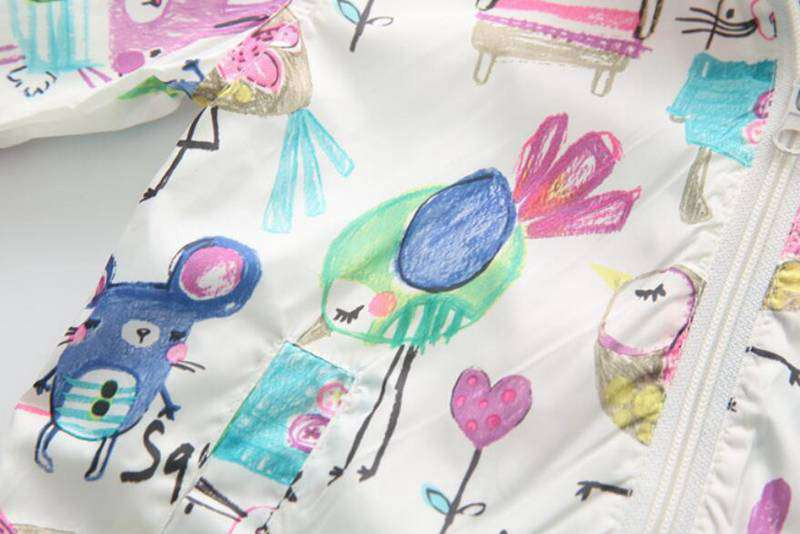 CUte Rabbit Graffiti Kids Jacket For Girls Trench Coats Spring Sunscreen Clothing Comfortable Girl Jackets Girls Outerwear Coats (6)
