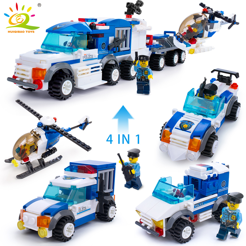 367pcs 4in1 Police Truck Vehicle Building Blocks with Cop Figures Toys Bricks