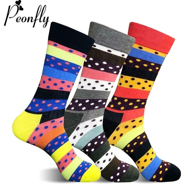 PEONFLY Art Graphic Casual High Quality Cotton Socks Men Dot Long Socks Novelty Striped Funny Bright Colorful Skateboard Socks