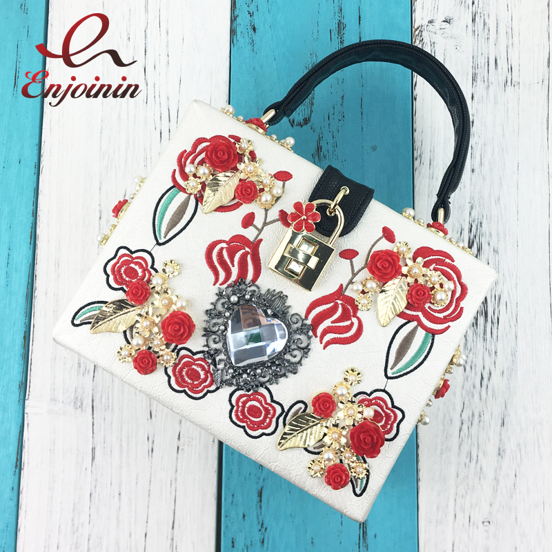 Luxury fashion embroidery flowers diamond pearl box style lock ladies party handbag shoulder bag female crossbody messenger bag 2017 fashion women bag fun flamingo design embroidery handbag for girl hit square bag leisure female shoulder messenger party