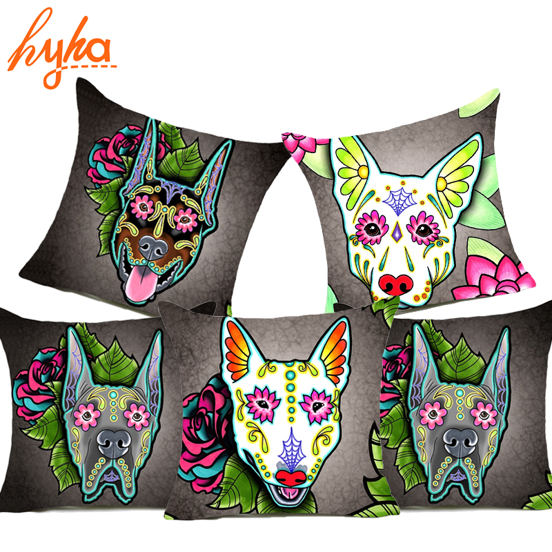 Hyha Dog Bull Terrier Cushion Cover Pug Schnauzer Samoyed Home Decorative Pillows Cover French Bulldog Bohemian Doberman Sofa