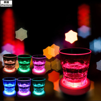 Top Quality LED Coaster Flashing Light Bulb Bottle Cup Mat Color Changing Light Up for Club Bar Home Party Use Induction Round led bar luminescent table cup mat kitchen mat pad for bar cocktail ktv light base gravity induction battery bar tools barware
