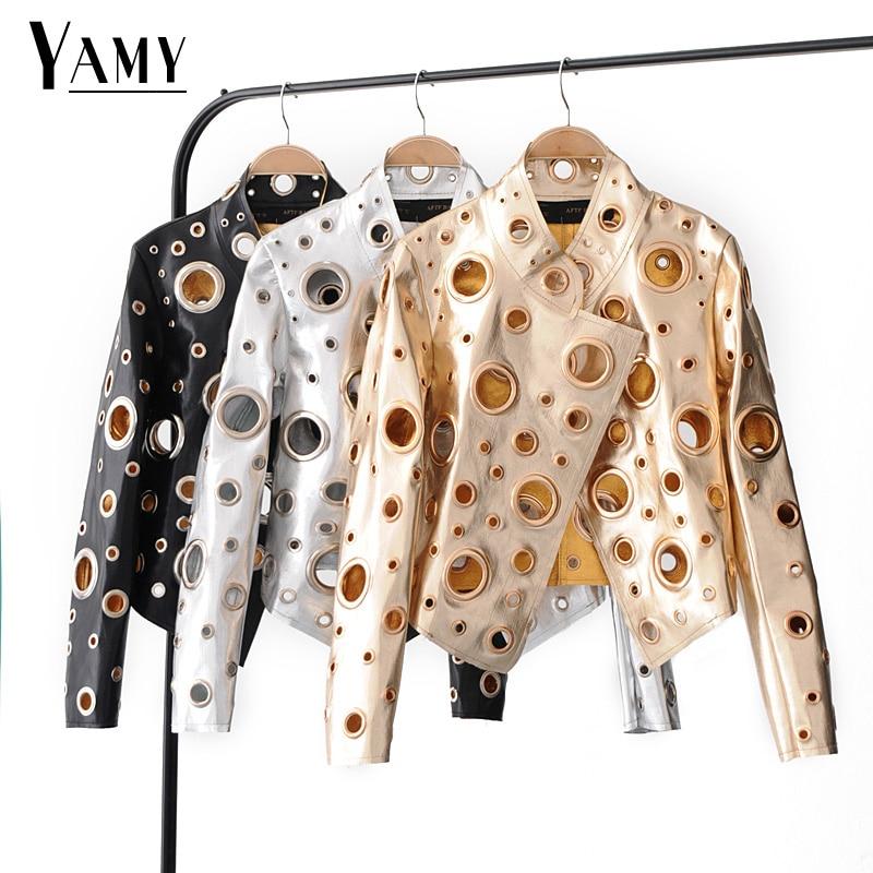 Zielsetzung Langarm Casaco Feminino Aushöhlen Jaqueta Feminina Casual Leder Jacke Frauen Kleidung Koreanische Mode Kleidung 2018 Haus & Garten