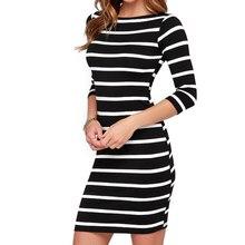 WJ Günlük Elbiseler 2016 Sonbahar Hanım Seksi Zayıflama Wrap Lady Moda Giyim Rahat Çizgili Bodycon Parti Elbise Vestidos