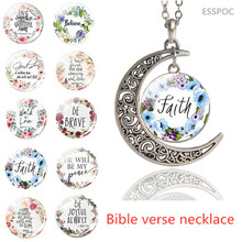 Bible Verses Necklace Glass Dome  Crescent Moon Pendant Scripture Quote Necklaces for Christian Faith Jewelry
