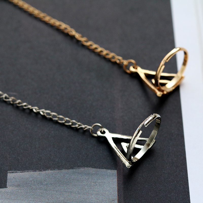 HUMANO FINO Fashion Simple Hollow Charm Triangle Bracelet Chain With Circle Punk For Women Gold Silver Party Gift Drop Shipping in Chain Link Bracelets from Jewelry Accessories