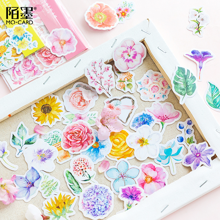 45pcs/1pack Stationery Stickers Cartoon Flower Diary Planner Decorative Mobile Stickers Scrapbooking DIY Craft Stickers