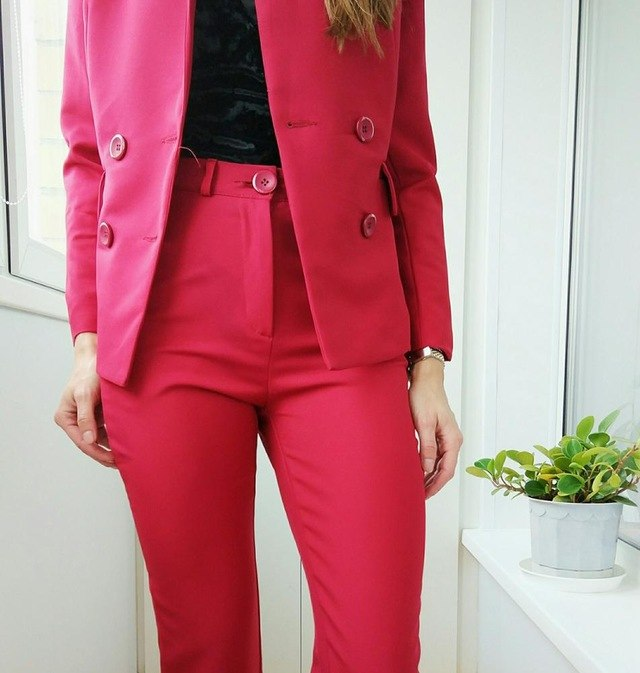 Slim Fashion Collar Lady Occupation Two Korean Temperament Wine Red And Black Two Color Elegant Female Suit