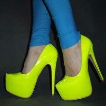 Llegó el nuevo 2017 Envío Libre del color Mujeres Neon Hot sexy 16 CM ultra Alto talón Bombas/Rosa zapatos amarillos del partido plataforma Tamaño 35-45