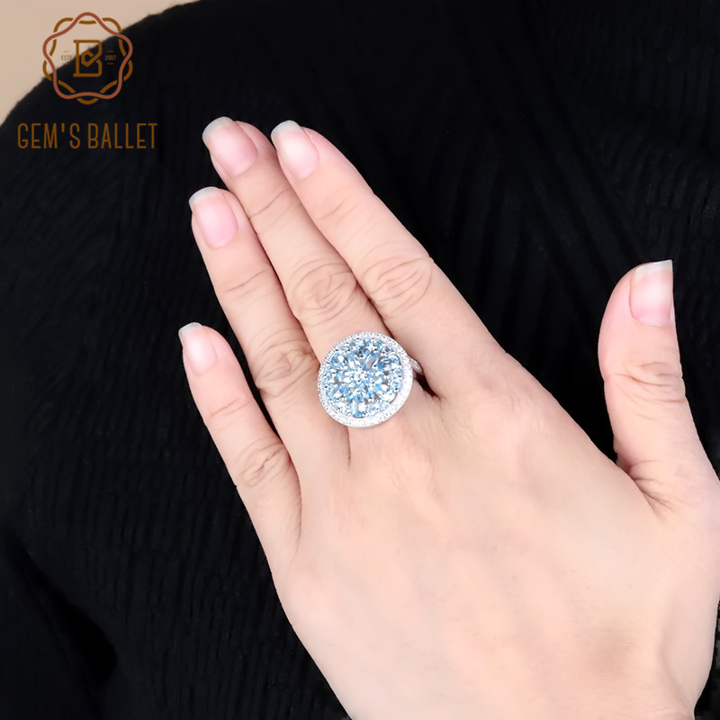 Gem's Ballet 3.68Ct Round Generous Natural Blue Topaz Gemstone Ring 925 Sterling Silver Wedding For Women Ring Fine Jewelry