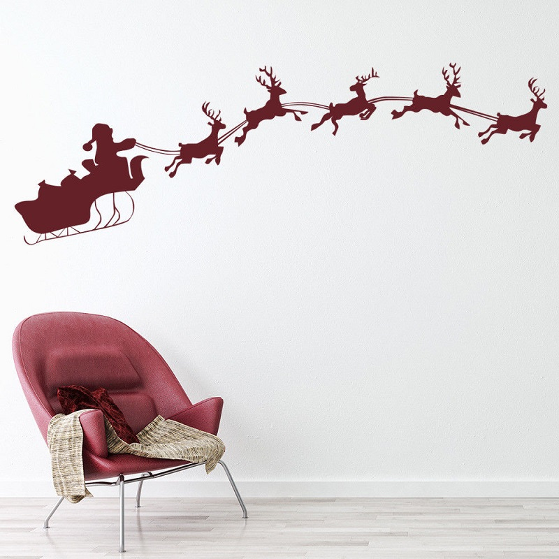 Reindeer Santa Sleigh Holiday Christmas Vinyl Wall Sticker, Home Interior Living Room Decorating Sticker  SDJ05