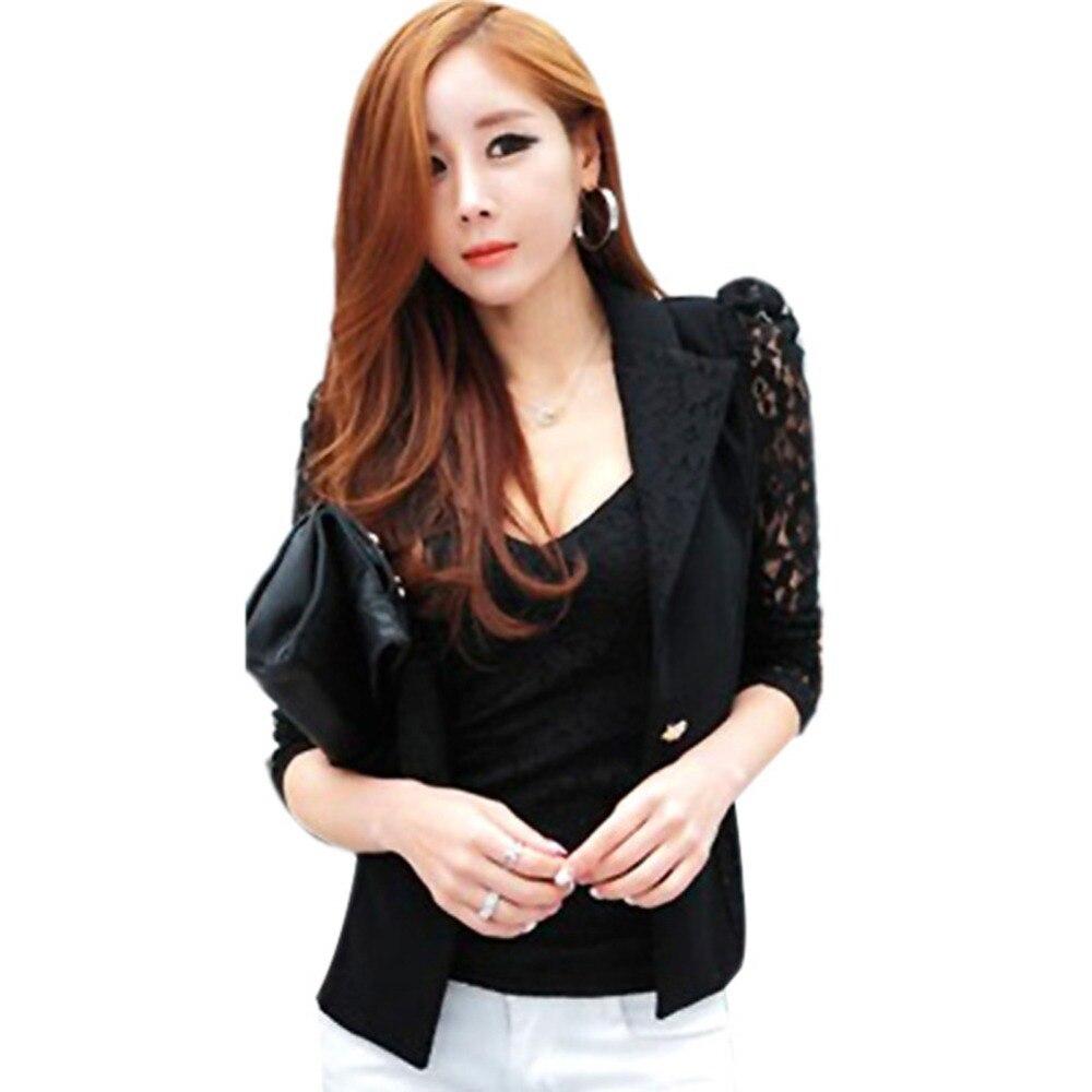 Women Lapel Long Sleeve Lace Crochet Tops One Button Suit Coat