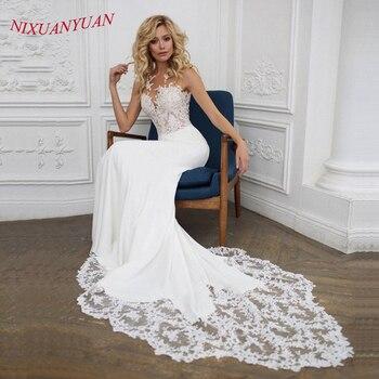 405ef4412 NIXUANYUAN Boho boda Vestido 2019 o-Cuello Apliques de encaje de sirena de boda  Vestido