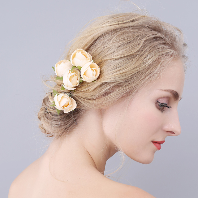 Red Yellow Purple Flower Hair Clips Wedding Bridal Pearl Pins Bridesmaid Jewelry Women