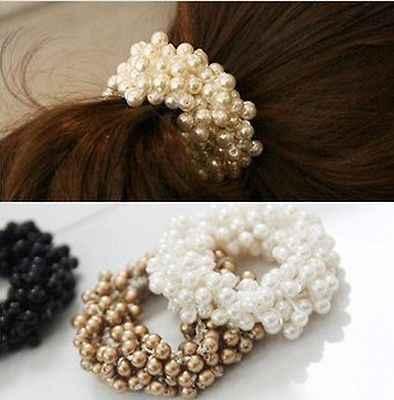 Fashion Vrouwen Crystal Rhinestone Parel Haarband Touw Elastische Paardenstaart Houder