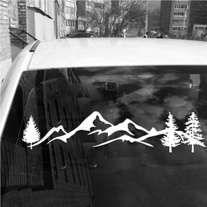 Image 4 - For SUV RV Camper Offroad 1pc 100cm Black/White Tree Mountain Car Decor PET Reflective Forest Car Sticker Decal Mayitr