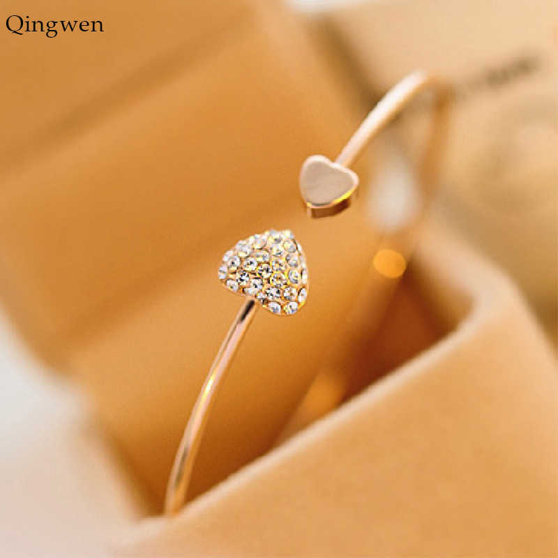 QingWen Women Bracelet Hot New Fashion Adjustable Crystal Double Heart Bracelets Cuff Opening Bracelet Jewelry Gift CE0545/w