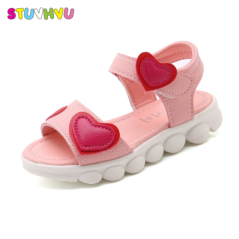 Kids Sandals For Girls 2019 Summer Children Open Toe Shoes Love Heart Girls Casual Sandals Pink White Color Cheaper Size 22-37