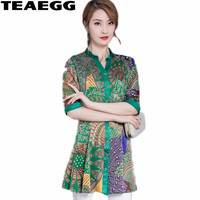 TEAEGG Loose Floral Printed Chiffon Blouse Green Blouses 2019 Female Clothing Plus Size Womens Summer Tops And Blouses AL1082
