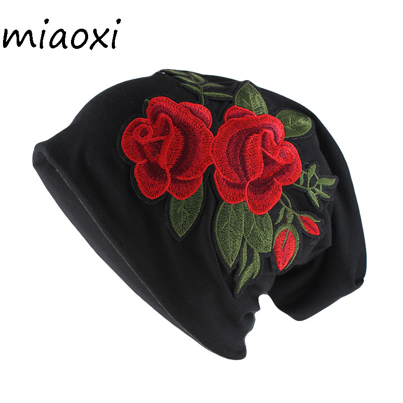 miaoxi Top Fashion Adult Women Autumn Hat Casual Lady Double Rose Floral   Beanies     Skullies   Female Colors Cotton Gorros
