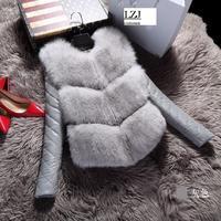LZJ Damen jacke weste mode herbst wintermantel warme weibliche gefälschte fox-pelz-weste hochwertige grade Dünne jacke schwarz grau großhandel 4XL