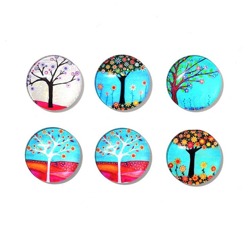 6 Pcs/set New Round Life Tree Refrigerator Sticker Fridge Magnet Toy Glass Cabochon Fridge Magnet Funny Gift Home Decor