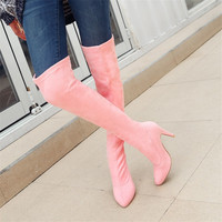 Big size 34 48 Fashion Elastic Suede Over the knee Long Boots Women shoes High heels Black rose gray purple pink Autumn winter