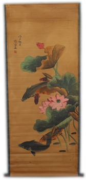 Rare Hand-painted QingDyansty Chinese vertical axis paintings,Fish swimming lotus pond,hand drawn, free shipping