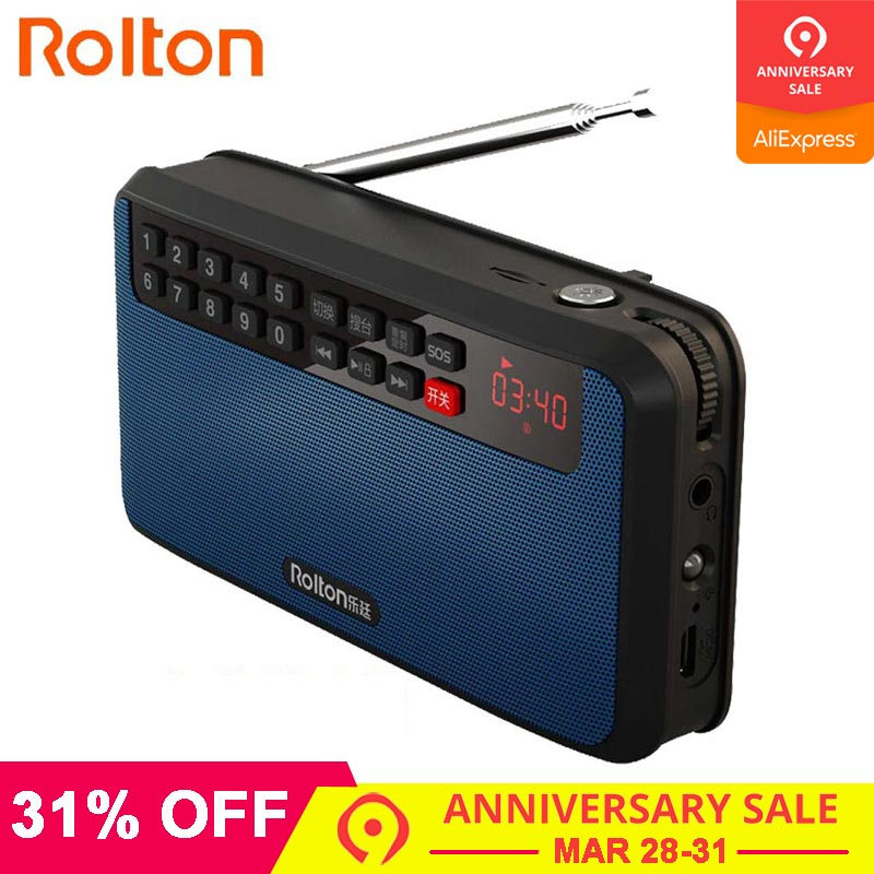 RoltonT60 MP3 Player Mini Portable Audio-Lautsprecher 2.1 FM-Radio mit LED-Bildschirm TF-Karte für die Wiedergabe von Musik Hohe LED-Taschenlampe