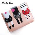 Manka Vesa Female Short Design Cat Purse Cute Ladies Wallet PU Leather Women Card Holder Wallets Girls Coin Purses Clutch