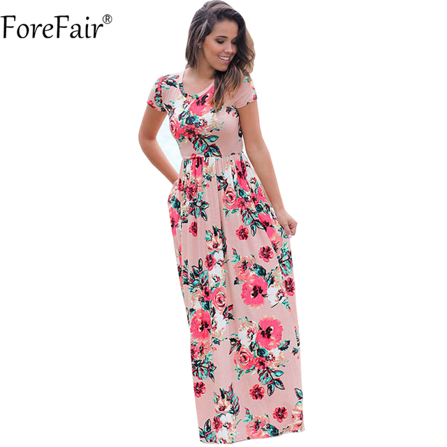 dd61e26631b ForeFair S-3XL Plus Size Slim Floral Print Casual Beach Dress Women Summer  Black White Pink Short Sleeve Draped Maxi Dress