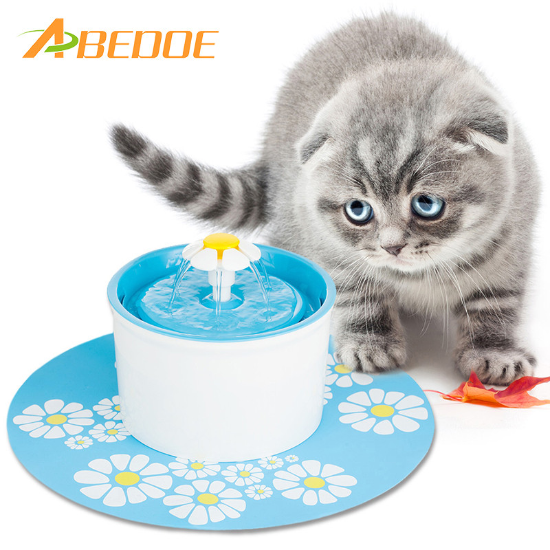 Automatic Cat Flower Shape Fountain Mute Pet Water Dispenser Feeder Bottle With Charcoal Filter&anti-slip Mat Drinking Fountain