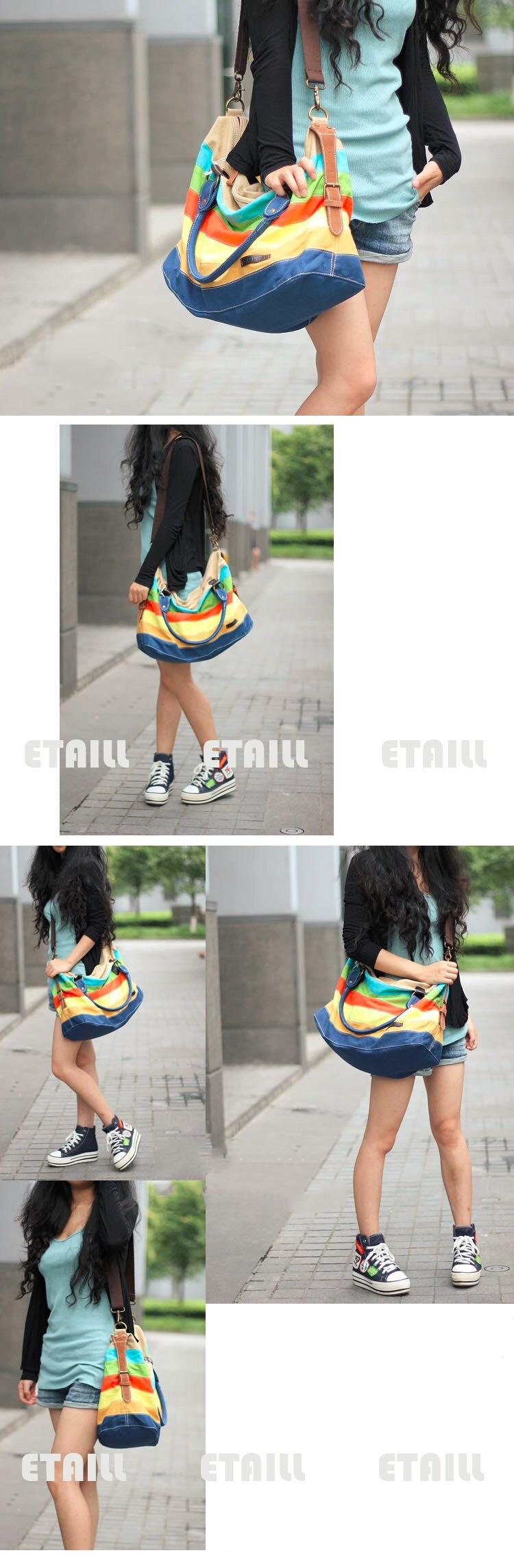 Grande Colorful Rainbow Sacola Ocasional Bolsa de