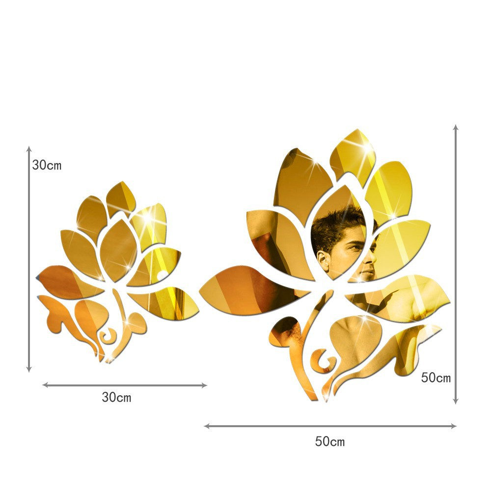 3D Lotus Flowers Mirror Wall Mirror Stickers For Wall Decoration DIY Home Decor Wall Decal Autocollant Mural Vinilo Pared-in Wall Stickers from Home & ...